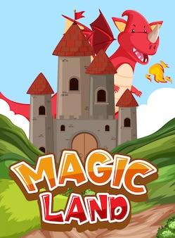 Design dei caratteri per terra magica di parole con drago e castello