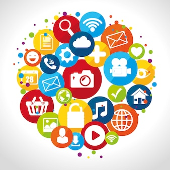Design dei social media con icone multimediali