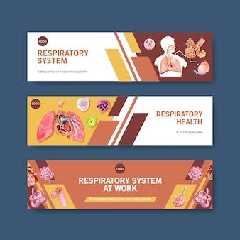 Design del banner respiratorio con anatomia umana del polmone