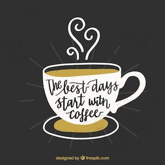 Design del caffè con lettering e citazione
