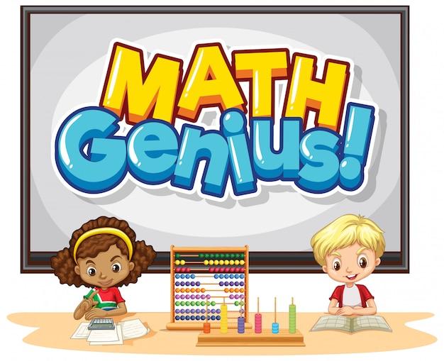Design del carattere per genio della matematica parola con bambini felici in classe