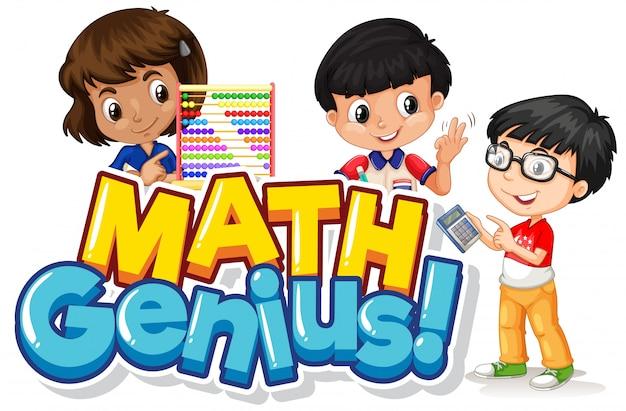 Design del carattere per genio della matematica parola con bambini felici