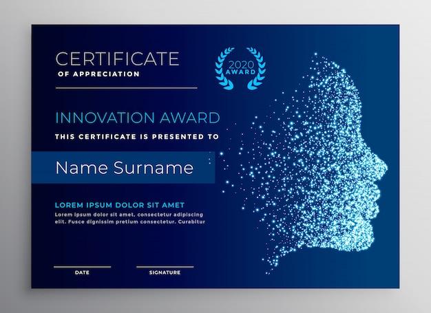 Design del certificato di premiazione dell'innovazione con faccia di particelle