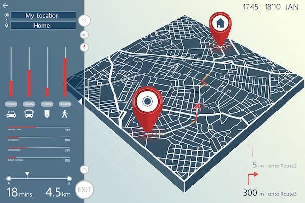 Design del cruscotto della pagina di navigazione e informazioni gps