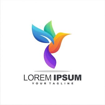 Design del logo a colori sfumati di uccelli
