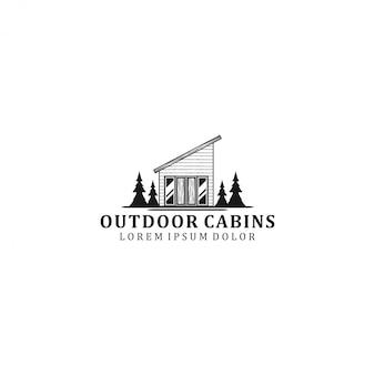 Design del logo cabina esterna - casa all'aperto - casa foresta di alberi