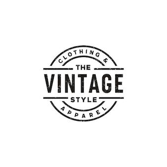 Design del logo classico vintage retrò etichetta distintivo per abbigliamento in tessuto