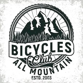Design del logo del club di biciclette vintage, timbro con stampa grange di motociclisti all-mountain, emblema di tipografia creativa