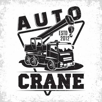 Design del logo del lavoro di sollevamento con un emblema del noleggio di macchine gru