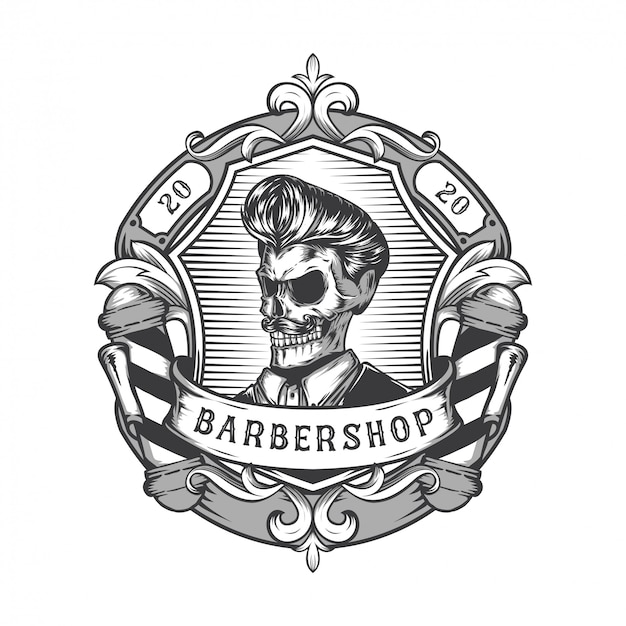 Design del logo del negozio di barbiere vintage