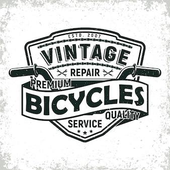 Design del logo del negozio di riparazione di biciclette vintage, timbro di stampa grange, emblema di tipografia creativa,