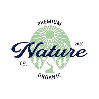 Design del logo del paesaggio della natura organica