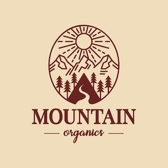 Design del logo del paesaggio di montagna