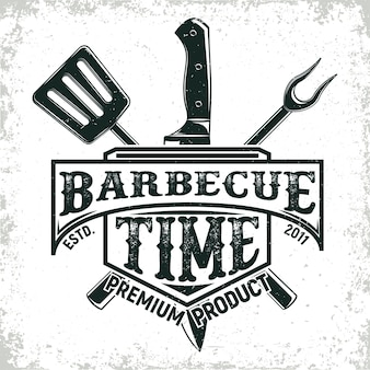 Design del logo del ristorante barbecue vintage
