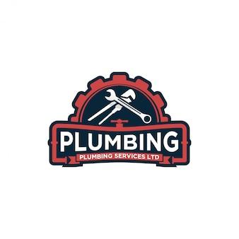 Design del logo del servizio idraulico - logo moderno - servizio domestico industriale dell'impianto idraulico con elemento chiave
