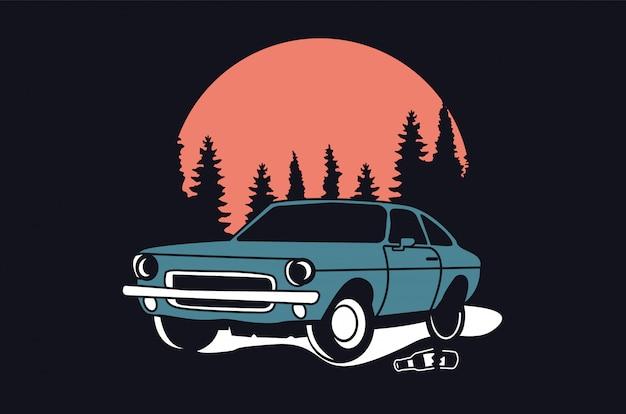 Design del logo dell'automobile classico o vintage o retrò