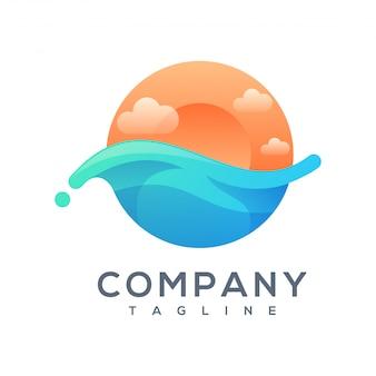 Design del logo dell'onda del tramonto pronto per l'uso