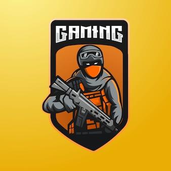 Design del logo della mascotte dell'esercito per giochi, esport, youtube, streamer e twitch