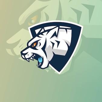 Design del logo della mascotte della tigre per giochi, esport, youtube, streamer e twitch