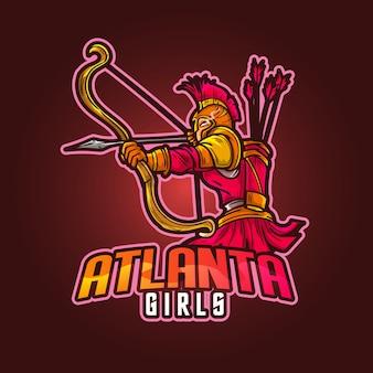 Design del logo della mascotte sportivo modificabile e personalizzabile, gioco esports logo atlanta girls