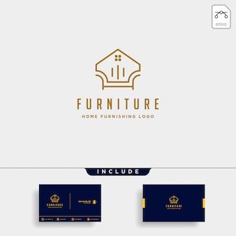 Design del logo della mobilia con oro