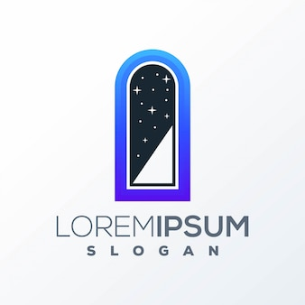 Design del logo della porta aperta pronto per l'uso