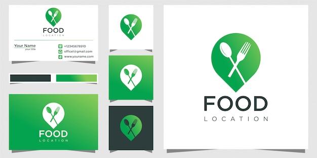 Design del logo della posizione del cibo, con il concetto di una spilla e un biglietto da visita