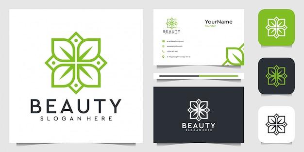 Design del logo di bellezza. vestito per fiori, foglie, fiori, spa, decorazioni e biglietti da visita