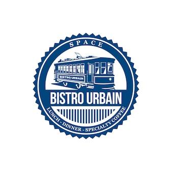 Design del logo di bistro urbain con tram