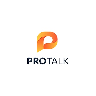 Design del logo di lettera p pro talk