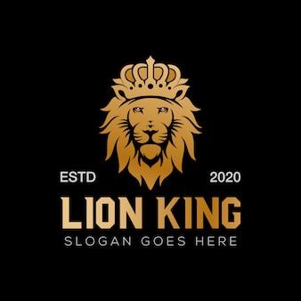 Design del logo di lusso del re leone d'oro