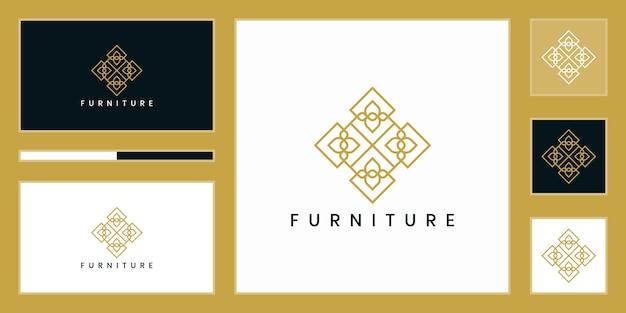 Design del logo di mobili. lussuosa linea di interior design