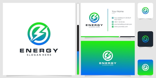 Design del logo energetico e biglietto da visita.