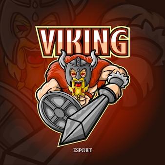 Design del logo esport mascotte vichingo