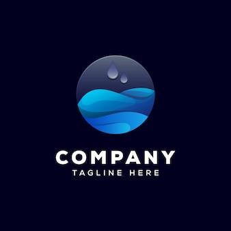 Design del logo goccia d'acqua liquida