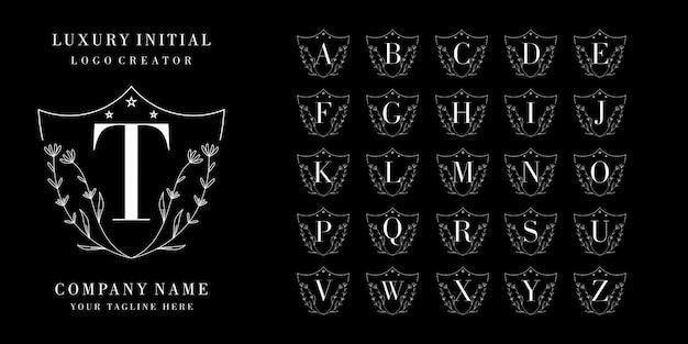 Design del logo iniziale di lusso. set logo alfabeto