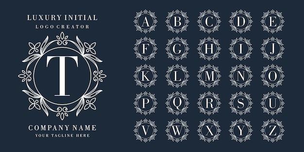 Design del logo iniziale premium con cornice floreale