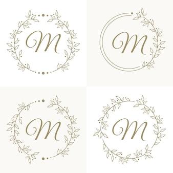 Design del logo lettera m di lusso con modello di sfondo cornice floreale