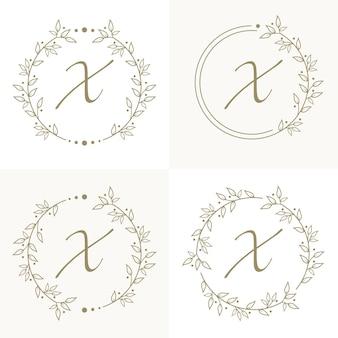 Design del logo lettera x di lusso con modello di sfondo cornice floreale