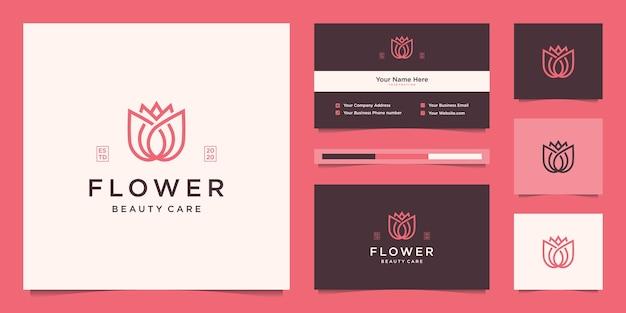 Design del logo lineare di bellezza del fiore di loto e biglietto da visita