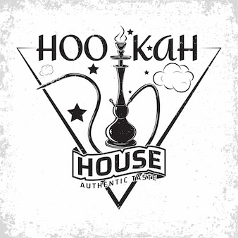 Design del logo lounge narghilè vintage, emblema del club o della casa del narghilè, emblema tipografico monocromatico, timbri stampati con grange rimovibile