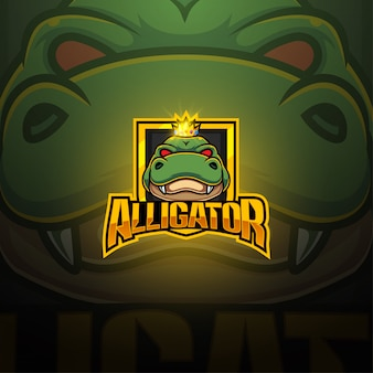 Design del logo mascotte alligatore esport