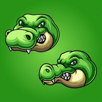 Design del logo mascotte alligatore esport