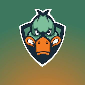 Design del logo mascotte da gioco anatra