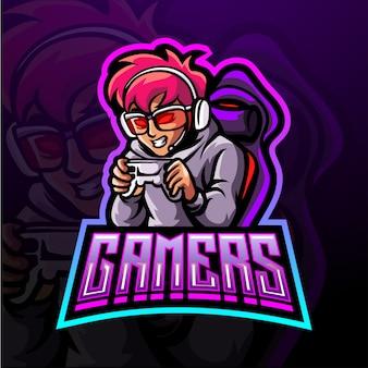 Design del logo mascotte del giocatore esportatore