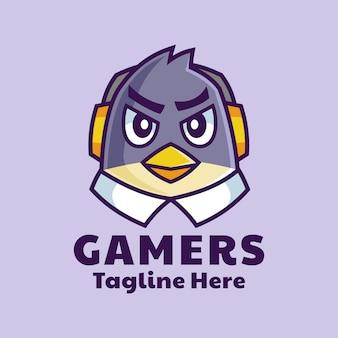 Design del logo mascotte di gamer bird