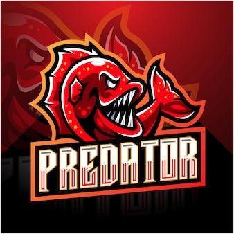 Design del logo mascotte di pesce esport