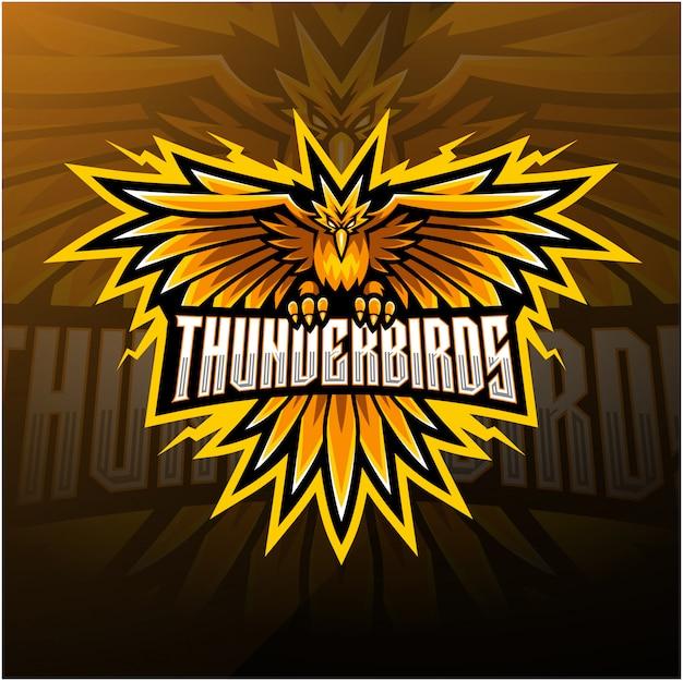 Design del logo mascotte esport uccelli di tuono