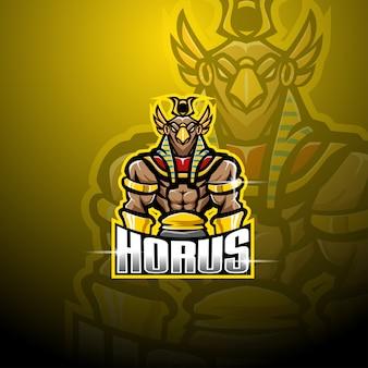 Design del logo mascotte horus esport