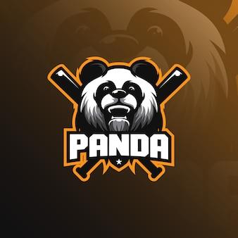 Design del logo mascotte panda con stile moderno concetto di illustrazione per la stampa di badge, emblema e maglietta.